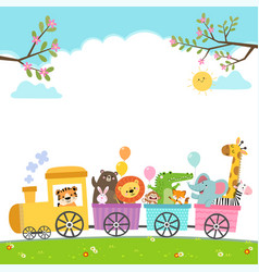 Template for advertising with animals on train vector