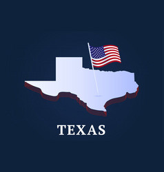 texas state isometric map and usa national flag vector image