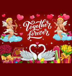 together forever february 14 valentines day card vector image