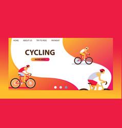 triathlon track cycling website design cartoon vector image