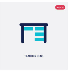 two color teacher desk icon from e-learning and vector image