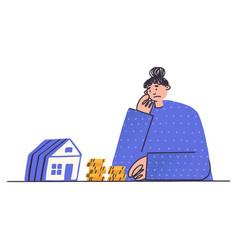 upset woman looking at small house girl vector image