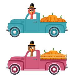 vintage pickup truck delivery of pumpkins vector image