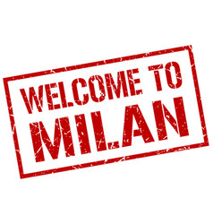 Welcome to milan stamp vector