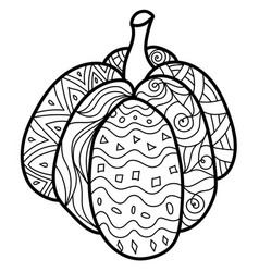 Wide pumpkin with fantasy patterns ornate vector
