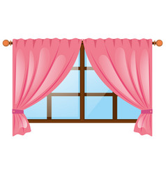 Window with pink curtain vector
