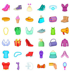 woman dress icons set cartoon style vector image