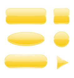 yellow glass buttons collection of web icons vector image