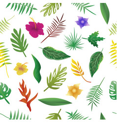 floral and leaves of summer natural seamless vector image vector image