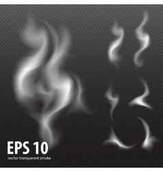 White smoke on transparent black background set vector