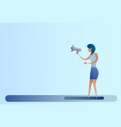 abstract business woman hold megaphone loudspeaker vector image