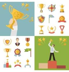 Flat Design Awards Symbols and Trophy Icons Set vector image