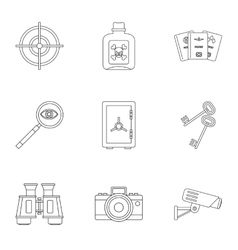 Secret agent icons set outline style vector image vector image