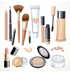 Set of cosmetics objects pencil brush blush vector image