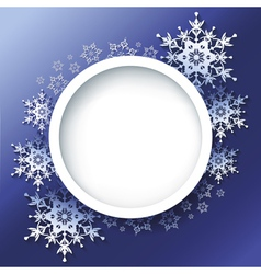 Winter background frame with 3d ornate snowflakes vector image vector image