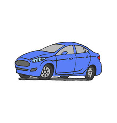 car blue doodle hand drawn vector image vector image