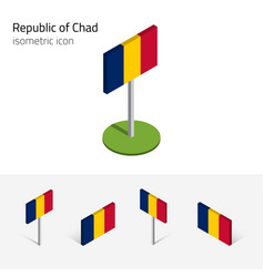 chad republic flag set 3d isometric icons vector image