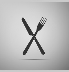 crossed fork and knife icon restaurant icon vector image vector image