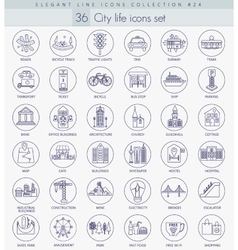 Modern city outline icon set Elegant thin vector image vector image