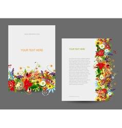 Paper template floral design vector image