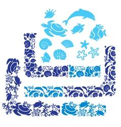sea life border 380 vector image vector image