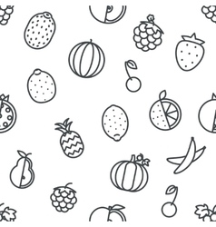 Seamless Line art fruit icons set flat design vector image