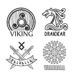 viking drakkar and valhalla monochrome isolated vector image vector image