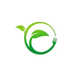 green leaf eco food vegetarian logo vector image vector image