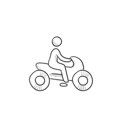 Man riding motorcycle sketch icon vector image vector image