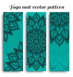 set of blue yoga mat pattern vector image vector image