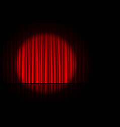 stage with red curtain and spotlight on it vector image