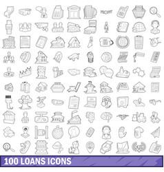 100 loans icons set outline style vector