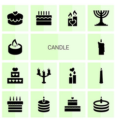 14 candle icons vector image