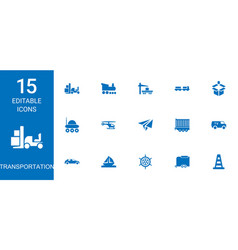 15 transportation icons vector image
