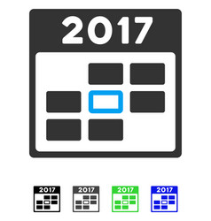2017 year selected calendar day flat icon vector