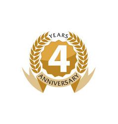 4 years ribbon anniversary vector