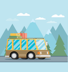 a retro travel van vector image