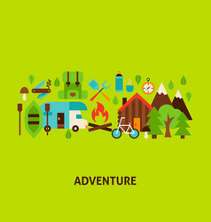 Adventure greeting card vector