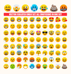 all emoticons in one set isolated emojis vector image