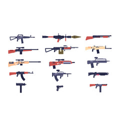 automatic guns battle game weapons pistol vector image