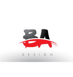 Ba b a brush logo letters with red and black vector