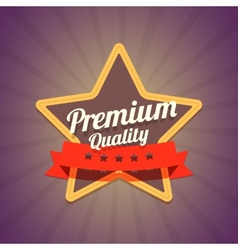 Badge with star and premium quality label on dark vector image