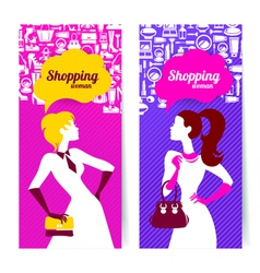 Banners with silhouette of shopping women vector image
