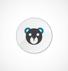 Bear toy face icon 2 colored vector