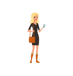 beautiful caucasian woman with smartphone in hand vector image