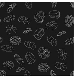 black and white bakery pattern vector image