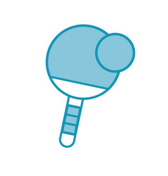 Blue ping pong paddle and ball vector