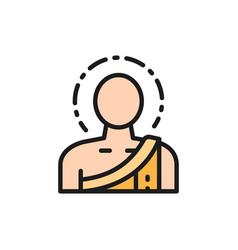 Buddha buddhist monk flat color line icon vector