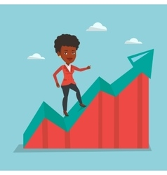 Business woman standing on growth graph vector
