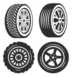 car tire isolated icons bike or automobile part vector image
